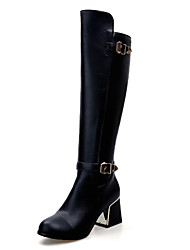 Women's Shoes Chunky Heel Fashion Boots/Comfort Boots Wedding/Outdoor/Office & Career/Dress/Casual Black/White