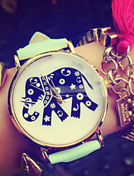 Korean Fashion Watches Elephant Flowers Pu Watch Women'S Watches Students Watch Jewelry Accessories Cool Watches Unique Watches