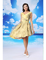 TS Couture® Cocktail Party Dress A-line V-neck Asymmetrical Organza / Satin with Sash / Ribbon