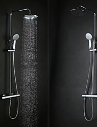 Contemporary Wall Hanging Type Brass Chrome 38 ℃ Smart Thermostatic Shower Faucets Set - Silver