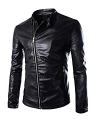 Men's Slim Fit Stand Collar Motorcycle  Jacket