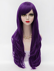 70cm Long Layered Curly Hair With Side Bang Purple Heat-resistant Synthetic Harajuku Lolita Party Wig