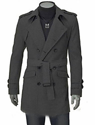 Men's Solid Casual / Work Trench coat,Polyester / Wool Blend Long Sleeve-Black / Gray