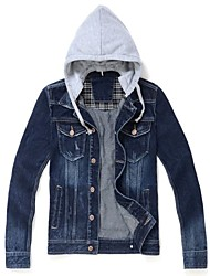 Men's Solid Color Hooded Denim jacket Slim