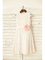 Sheath / Column Knee-length Flower Girl Dress - Lace Jewel with Flower(s) Sash / Ribbon