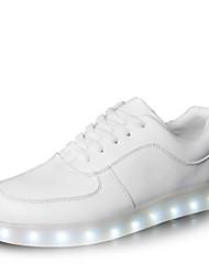 de los hombres conducido zapatos al aire libre de carga / USB partido& noche / zapatos deportivos / casuales de la moda de cuero sintético blanco