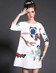 Plus SIze Women Clothing Dress Autumn Print Owl Vintage Fashion 3/4 Sleeve Party/Casual/Work Short Dress
