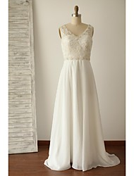 A-line Wedding Dress Beautiful Back Sweep / Brush Train V-neck Chiffon Lace with Appliques Beading Button