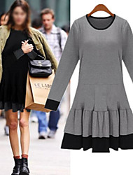 QIUYI     Women's Character Black / Gray Dresses , Beach / Casual / Party Round Long Sleeve