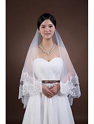 Wedding Veil Two-tier Fingertip Veils Lace Applique Edge