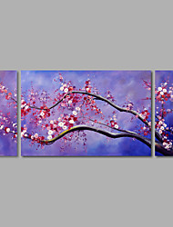 Hand-Painted Oil Painting on Canvas Wall Art Abstract Flowers Purple Blossom Three Panel Ready to Hang