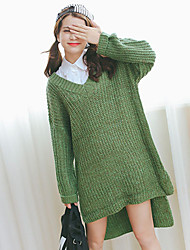Women's V Collar Color Wool Knitted Sweater
