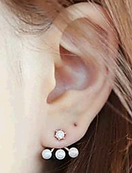 Three Pearl Rhinestone Stud Earrings