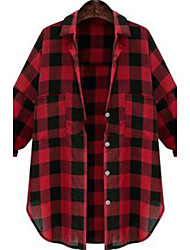 CEN     Women's Plaid Red / Black Casual Shirts , Casual Shirt Collar Long Sleeve
