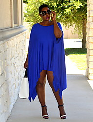 Women's Solid Blue Plus Size Dresses , Sexy/Casual Round Short Sleeve