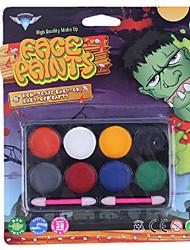 Halloween Eight Colors Face Paint Palette Kits Free Smudger Random Color