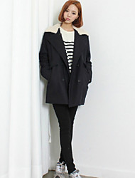 Women's Patchwork Gray Coat , Casual Long Sleeve Wool