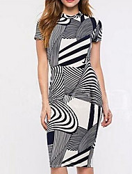SEXY Women's Striped Multi-color Dresses , Vintage / Sexy / Casual / Work Round Short Sleeve