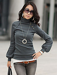 SEXY Women's Solid Color White / Black  / Gray T-Shirts , Vintage / Sexy / Casual / Work High-Neck / Round Long Sleeve