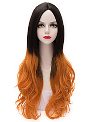 Two Tone Black Gradient Orange Long Loose Wavy U Part Hair Harajuku Purecas Lolita Vogue Party Women Girl Synthetic Wig