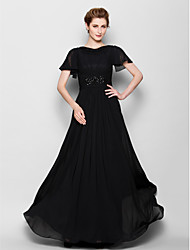 Sheath/Column Plus Sizes / Petite Mother of the Bride Dress - Black Floor-length Short Sleeve Chiffon