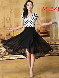 Women's Polka Dot White Plus Size Dresses , Party/Work Round Short Sleeve