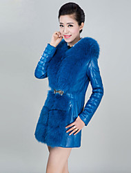 Women's Fashion Fox Fur Spliced Genuine/Real Sheepskin/Lambskin Leather Down Jacket/Coat