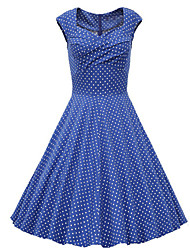 Women's Solid Blue / White / Purple Dresses , Casual Square Sleeveless