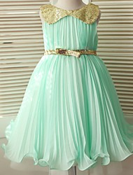 Ball Gown Tea-length Flower Girl Dress - Chiffon / Sequined Sleeveless Scoop with