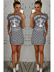 Women's Striped White/Multi-color Dresses , Casual Round Short Sleeve