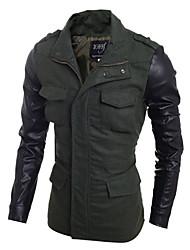 Men's Long Sleeve Regular Trench coat , Cotton / PU Pure