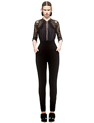 Women's Patchwork / Lace Backless Hollow Out Black Jumpsuits , Sexy / Lace Stand ½ Length Sleeve