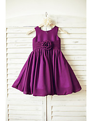 A-line Knee-length Flower Girl Dress - Chiffon Sleeveless Scoop with