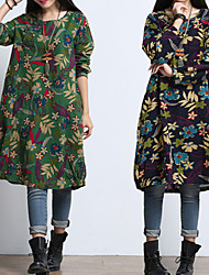 FUK   Women's Print Blue / Green Dresses , Vintage / Casual / Print Round Long Sleeve