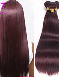 """3 pc / lotto 14 """"-24"""" di colore capelli vergini capelli lisci peruviano 99j capelli umani non trattati tesse"""