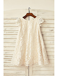 Sheath/Column Knee-length Flower Girl Dress - Lace Short Sleeve