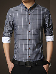 In the autumn of 2015 long sleeved shirts slim men Plaid Shirt Korean youth Plaid