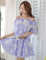 Women's Halter Flower/Ruffle/Backless Dresses , Polyester Sexy/Casual/Print/Party ¾ Sleeve DABUWAWA