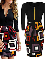 Para Women's Vintage / Sexy / Bodycon / Casual / Print / Party Round ¾ Sleeve Print Dresses