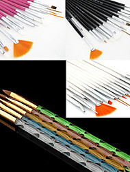 15PCS Acrylic Nail Art Design Painting Drawing Pen Brush(3 Color Choose)with 5PCS 5 Colors Sizes UV Gel Brush Set