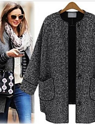 CEN     Women's Solid Color Gray Coats & Jackets , Casual Round Long Sleeve