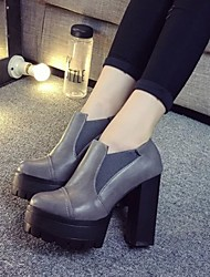 Women's Shoes Chunky Heel Round Toe Heels Dress Black/Gray