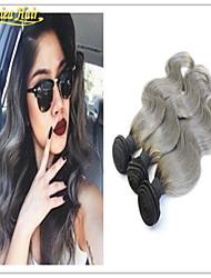 3 PC / cuerpo mucha onda gris pelo virginal ombre 1b 3pcs la armadura del pelo gris ombre 1b extensiones de cabello gris plata