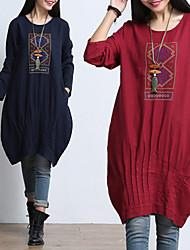 Vestidos ( Lino )- Casual Redondo Manga Larga para Mujer