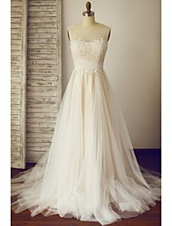 A-line Wedding Dress - Chic & Modern Wedding Dress in Color Sweep / Brush Train Square Lace Tulle with Ruche