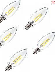 5pcs e14 2w 180lm chaud blanc froid 360 degrés edison filament lumière / LED ampoule de bougie (85-265V)