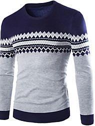 Men's Going out Casual/Daily Vintage Simple Long Pullover,Solid Stand Long Sleeves Wool Winter Thick Stretchy