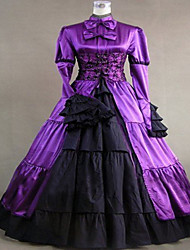 Steampunk®Purple Satin Medieval Dress Gown Long Gothic Party Dress