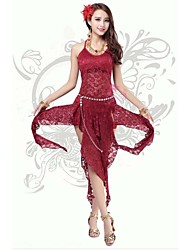 Belly Dance Dresses Women's Performance / Training Polyester / Milk Fiber Lace / Split Front 1 Piece Dark Red Belly Dance BacklessSpring,