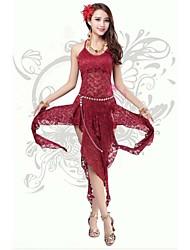 Dança do Ventre Vestidos Mulheres Actuação / Treino Poliéster / Fibra de Leite Renda / Frente Dividida 1 Peça Sem Mangas Alto Princesa